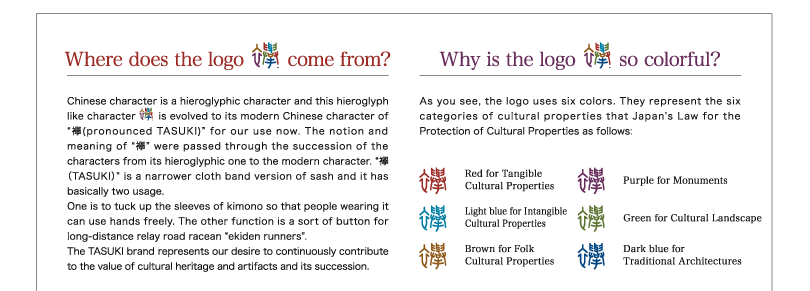 "Where does the logo 襷 come from? Chinese character is a hieroglyphic character and this hieroglyph like character is evolved to its modern Chinese character of ""襷(pronounced TASUKI)"" for our use now. The notion and meaning of ""襷"" were passed through the succession of the characters from its hieroglyphic one to the modern character. ""襷(TASUKI)"" is a narrower cloth band version of sash and it has basically two usage. One is to tuck up the sleeves of kimono so that people wearing it can use hands freely. The other function is a sort of button for long‐distance relay road racean ""ekiden runners"". The TASUKI brand represents our desire to continuously contribute to the value of cultural heritage and artifacts and its succession.◆Why is the logo 襷 so colorful? As you see, the logo uses six colors. They represent the six categories of cultural properties that Japan's Law for the Protection of Cultural Properties as follows: Red for Tangible Cultural Properties Light blue for Intangible Cultural Properties Brown for Folk Cultural Properties Purple for Monuments Green for Cultural Landscape Dark blue for Traditional Architectures"